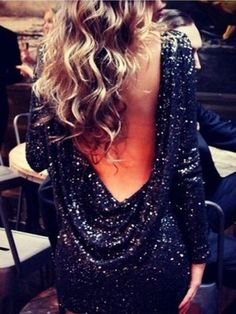 Black Sequin Backless Party Dress