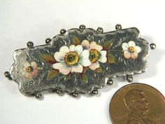 ANTIQUE VICTORIAN ENGLISH STERLING SILVER ENAMEL FLORAL PIN BROOCH c1889