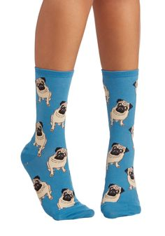 As Snug as a Pug Socks. Even if you dont have a furry friend to snuggle up with at the end of a long day, these printed socks are more than happy to keep you company! #blue #modcloth