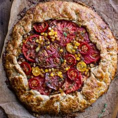 Caramelized Corn and Heirloom Tomato Galette w/Herbed Roasted Garlic Goat Cheese.