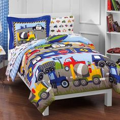 Dream Factory Trucks Reversible Comforter Set with Sheets - Walmart.com