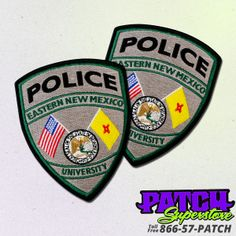 www.patchsuperstore produced these amazing embroidered Police Eastern New Mexico University Patch.   #policepatches #custompatches #embroideredpatches #patches