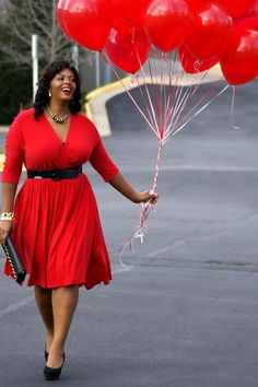 Plus size red dress, a dress meant for attraction and sensual appeal which affects subconsciously. Red is related with fertility, and a red dress with red lips represents an attractive socially conditioning women. Red stands