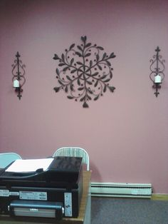 Secretary's office, dusty rose with brown metal wall decor Metal Wall Decor, Dusty Rose, Metal Walls, Decor Ideas, Homes, Brown, Color, Design, Home Decor
