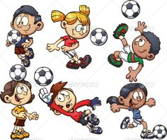 Soccer Kids by memoangeles Cartoon soccer kids. Vector clip art illustration with simple gradients. Each on a separate layer. Kids Vector, Free Vector Art, Simple Cartoon, Cartoon Kids, Jouer Au Foot, Asian Kids, Clip Art, Kids Soccer, Free Cartoons