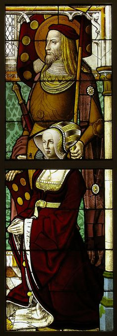 Stained Glass Panel with a Lady and her Patron Saint Flemish  1505-1508