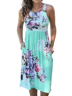 Handyulong Womens Bohemian Dress Summer Sleeveless V-Neck Ethnic Print Split Maxi Long Dress Kaftan Dress Beach
