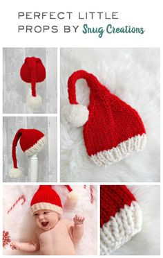 These cute as a button knitted santa hats are perfect for christmas newborn shoots - also available in larger sizes (preemie-large adult)