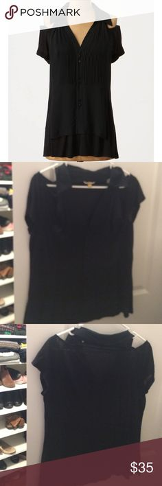 Anthropologie Leifsdottir cut out shoulder top Anthropologie Leifsdottir black Neal top blouse size small. Has cut out shoulder details and pinstripes mint blousing detail at Neck and collar. Rest of top is jersey. Great to dress up our down! Anthropologie Tops Blouses