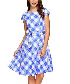 Loving this Blue Gingham Tie-Waist Fit & Flare Dress - Plus Too on #zulily! #zulilyfinds