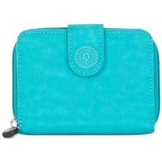 Kipling New Money Wallet ($39) ❤ liked on Polyvore featuring bags, wallets, brilliant jade, kipling bags, blue wallet, kipling wallet, kipling and blue bag
