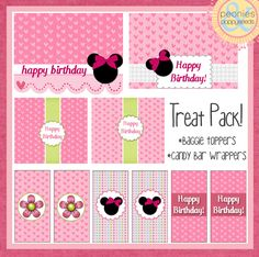minnie mouse birthday treat pack free baggie toppers and candy bar wrappers, big and small Birthday Party Treats, 2nd Birthday Parties, Birthday Fun, Minie Mouse Party, Minnie Mouse Theme, Mickey Mouse, Mickey Birthday, Mickey Party, First Birthdays