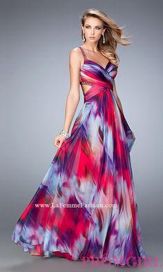 Long Backless V-Neck La Femme Prom Dress LF-22410