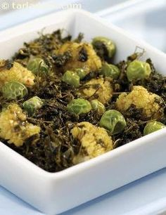 A dish that's truly remarkable and a must try for all lovers of Punjabi food. Using Kasuri methi instead of the regularly used fresh methi gives this dish its unique flavour. The bitter taste of the kasuri methi is removed when it is soaked in water. Methi plays a very important part in kitchens in the Punjab especially in winter. Bright green peas add a lovely green colour and yummy flavour to this subzi.