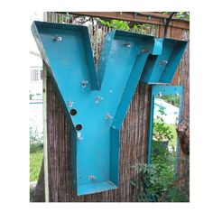 """Very Large Vintage Channel Letter """"Y"""" Metal Sign - Marquee Sign - 30"""" Tall - Industrial Retro Wall Decor - Or Outdoor Wall Garden Planter. $85.00, via Etsy."""