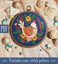 Flowers and Hen Cross Stitch Pattern This pattern is an instant download PDF. Size: 110w x 111h stitches 14 Navy Blue Count Aida: approx. 7.86 x x 7.93 inches or 19.96 x 20.14 cm Stitches Required: Full cross stitches Colors Required: 13 DMC floss colors PDF Included: - Pattern in