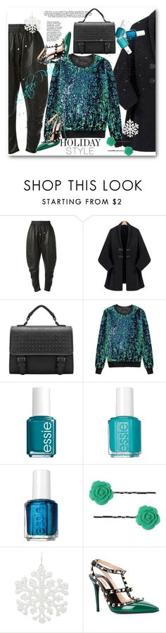 """""""Holiday Style: Leather Pants"""" by svijetlana ❤ liked on Polyvore featuring Dodo Bar Or, Essie, Dollydagger, Valentino, polyvoreeditorial and holidaystyle"""
