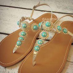 New Turquoise Stone Silver Sandals Rhinestone Teal Gems Pretty Summer Fashion | eBay