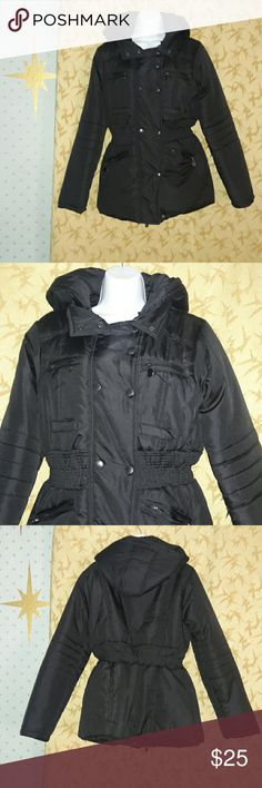 Dollhouse Puffer Coat with hood cute and warm!! Great puffer coat purchased at Macy's. Junior size large. Bought this to wear for my son's little league game. I only wire this 1 time! Like new condition. Figure flattering elastic waist! Perfect with skinny jeans and boots or tennies! Dollhouse Jackets & Coats Puffers