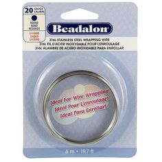 Beadalon 316L Stainless Steel Wrapping Wire, Round, 20 Gauge