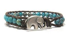 Turquoise (color) Beaded Wrap Bracelet, Leather Wrap Bracelet.