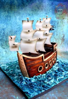 Nautical cake by Satin Ice Artist of Excellence Karen Keaney in the Sail Away Showcase   Satin Ice