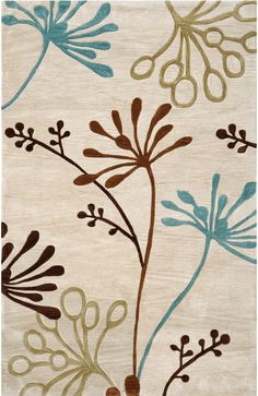 Ivory rug with multicolor modern design