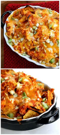 These Buffalo Chicken Nachos are the perfect appetizer for game day! the-girl-who-ate-everything.com