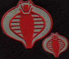 """inch Fully Embroidered Red /& White Cobra Patch GI Joe Stormshadow Small 3/"""""""