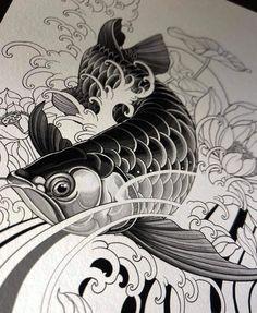 Koy Fish Drawing, Fish Drawings, Animal Drawings, Japanese Mask Tattoo, Japanese Tattoo Designs, Koi Tattoo Design, Tattoo Design Drawings, Japanese Drawings, Japanese Artwork