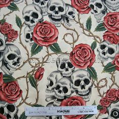 Alexander Henry Rose Tattoo Skulls Roses Tea Day of The Dead Goth Fabric by the Yard | eBay