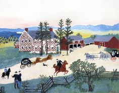 The Old Checkered House In Winter- Grandma Moses