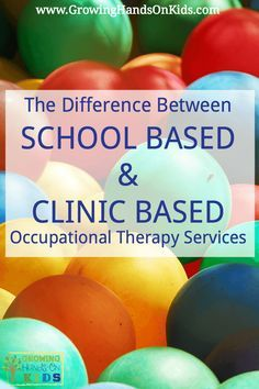 What is the difference between school based and clinic based pediatric Occupational Therapy services? A lot more than you might think! Ocupational Therapy, Therapy Tools, Physical Therapy, Speech Therapy, Therapy Ideas, Physical Education, Special Education, Occupational Therapy Schools, School Ot