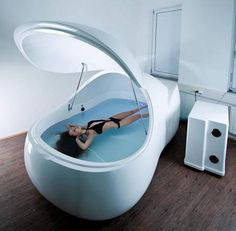 (Can I have this??!!!) Floating for stress relief and relaxation. You float in a dark tank of epsom salt and water with earplugs in for one hour. Supposedly as beneficial as 4 hours of deep sleep.