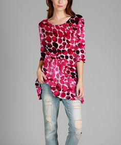 Loving this Pink & Red Abstract Dots Three-Quarter Sleeve Tunic - Plus on #zulily! #zulilyfinds