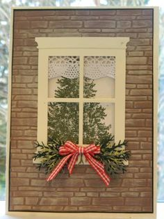 Brownstone Greetings by ann: Handmade card, like the detail of the lace in window