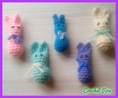 Ravelry: Teeny Weeny Bunny pattern by Roxann Skvarj-Stetzer Easter Crochet, Hand Crochet, Crochet Hooks, Baby Blanket Crochet, Crochet Baby, Crochet Needles, Easter Bunny Decorations, Mermaid Blanket, Craft Stick Crafts