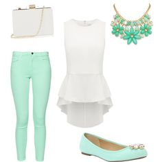 A fashion look from March 2015 featuring white peplum tank top, rolled skinny jeans and sparkle shoes. Browse and shop related looks.