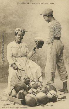 Marchande de noix de cocos en 1910