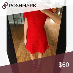 J. Crew red lace dress Red lace dress with satin lining. Zips in back. Only worn once. J. Crew Dresses Mini