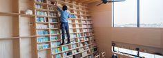 shinsuke fujii designs integrated oblique wall for the 'bookshelf house' in yokohama