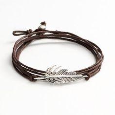 Sterling Silver Feather Woven Cord Triple Wrap Bracelet