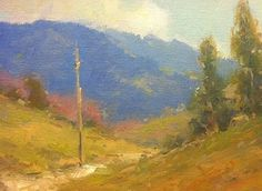 """Abandoned telephone pole by John Weiss Oil ~ 4"""" x 6"""""""