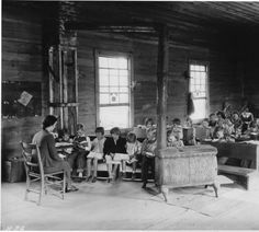 Vintage photo of one-room schoolhouse.