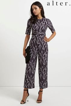 8d3c4d1b14c Alter Wrap Front Awkard Length Jumpsuit Black Size UK 12 LF076 UU 02   fashion