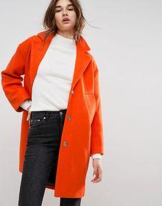 8bc71f6b934a ASOS – Schmaler Mantel mit Paspelierung Schmal, Damen Bekleidung, Jacken,  Schöne Hintern,