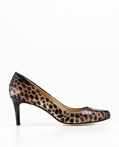 Perfect Animal Print Patent Leather Kitten Heels