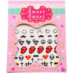 Lip And Diamond Pattern Nail Sticker Set ❤ liked on Polyvore featuring beauty products and nail care