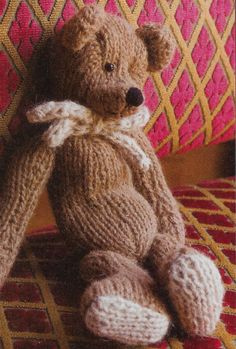 Knitting Pattern for Classic Teddy Bear - Mary Ann Gebhardt designed this old-fashioned Teddy Bear with an eye for vintage details: Contrasting paw pads, hand-embroidered features, and fully jointed limbs turn a simple toy into a treasure. 11″ tall