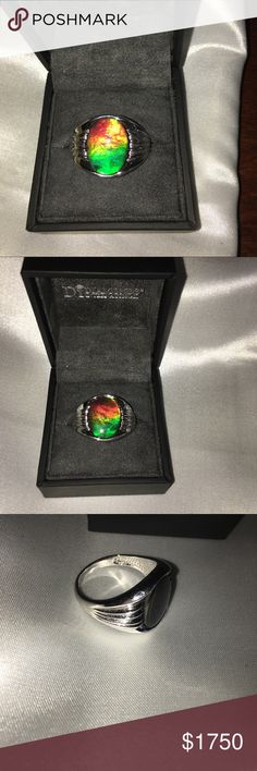 d424417f2fcb92 Genuine Korite Ammolite Gemstone Sterling Ring 10 Touted as one of the  rarest gemstones on earth, Ammolite triplet gemstones are formed from  ancient marine ...